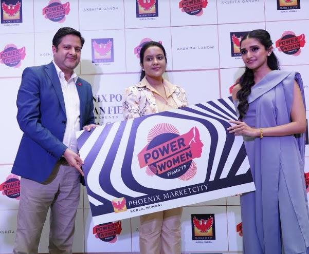Amit Kumar from Phoenix Marketcity, Amruta Fadnavis and Akshita Gandhi for the Inauguration of Power Women Fiesta at Phoenix Marketcity, Kurla, Mumbai