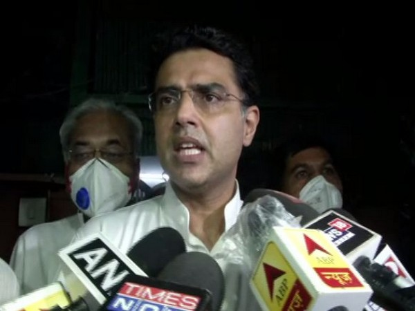 Former Rajasthan Deputy Chief Minister Sachin Pilot speaking to reporters on Monday. Photo/ANI