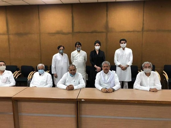 Former Rajasthan Deputy chief minister Sachin Pilot and rebel MLAs attended meeting with three-member committee formed by Congress. Photo/ANI