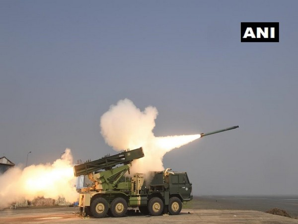 DRDO successfully testfires advanced version of Pinaka rockets on Wednesday. Photo/ANI