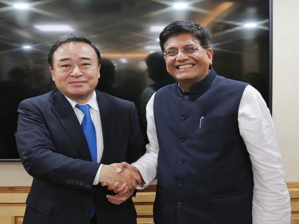Goyal (right) with Kajiyama in New Delhi on Tuesday