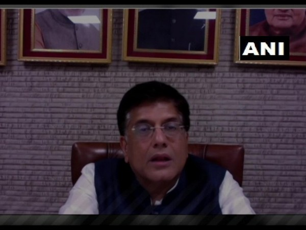 Union Minister Piyush Goyal speaking at the webinar 'Business continuity between India and France during COVID' on Friday. Photo/ANI