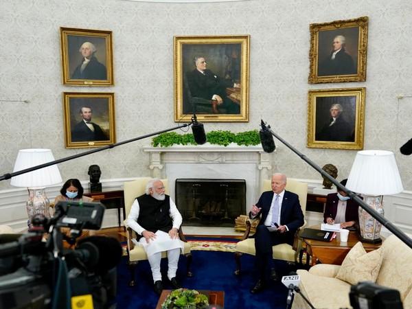 Prime Minister Narendra Modi in talks with US President Joe Biden on Friday.