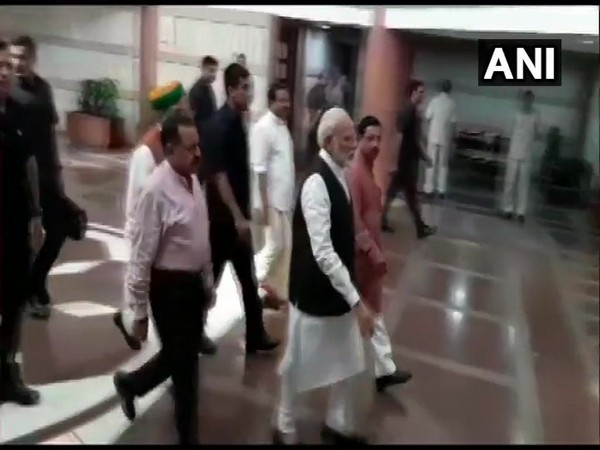 Prime Minister Narendra Modi arrives for BJP Parliamentary Party meeting at Parliament Library Building.