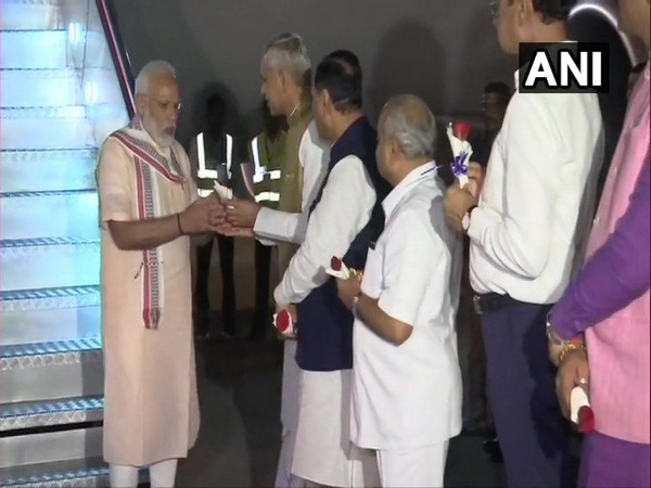 Prime Minister Narendra Modi arrives in Ahmedabad.
