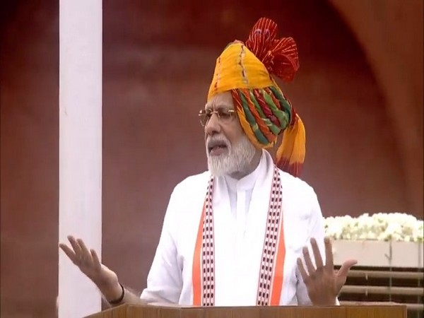 Prime Minister Narendra Modi addressing from the ramparts of Red Fort on India's 73rd Independence Day