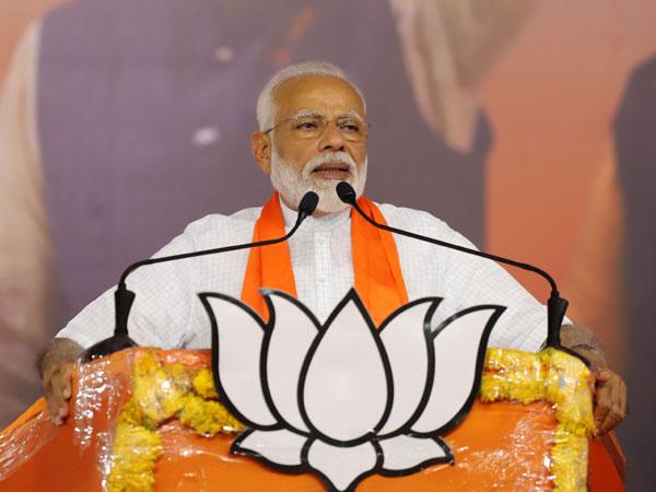 Prime Minister Modi speaking in Ahmedabad on Sunday. Photo/ANI