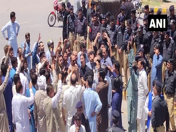 Protests against hypropower projects in PoK underway in Muzaffarabad on June 16 (Photo/ANI)