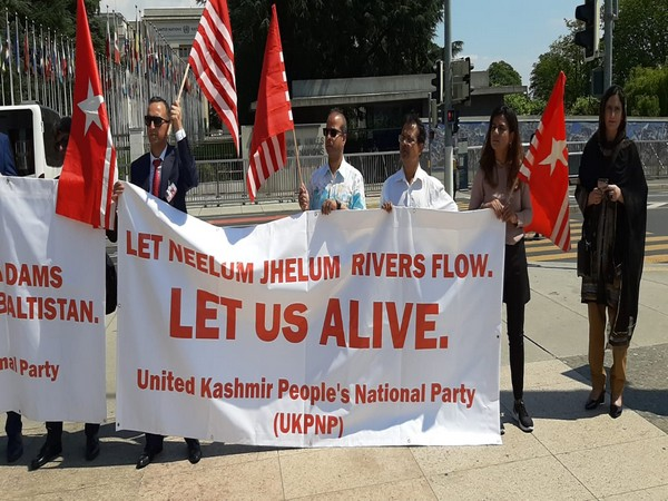 Political activists from PoK organise a protest against Pakistan's occupation and subjugation during 41st session of UNHRC in Geneva