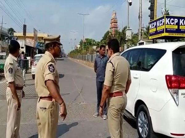 District SP Raveendranath Babu monitoring the situation at the check post. Photo/ANI