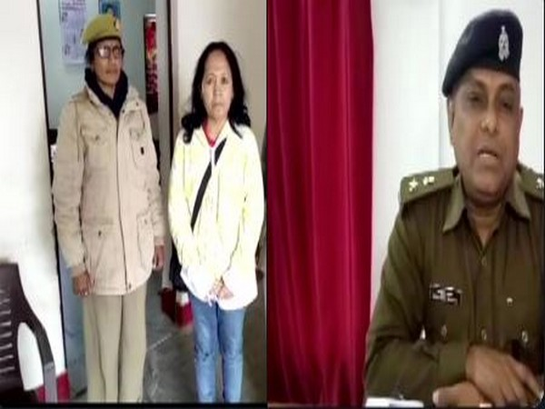 The arrested Indonesian woman by Uttar Pradesh Police. (Photo/ANI)
