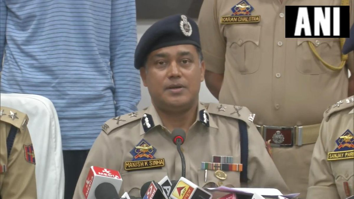 ammu Inspector General of Police MK Sinha while speaking to media persons on Monday in Jammu and Kashmir. Photo/ANI