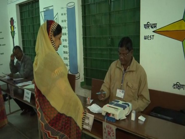A woman casting her vote in Jharkhand during second phase of polling in the state on Saturday.