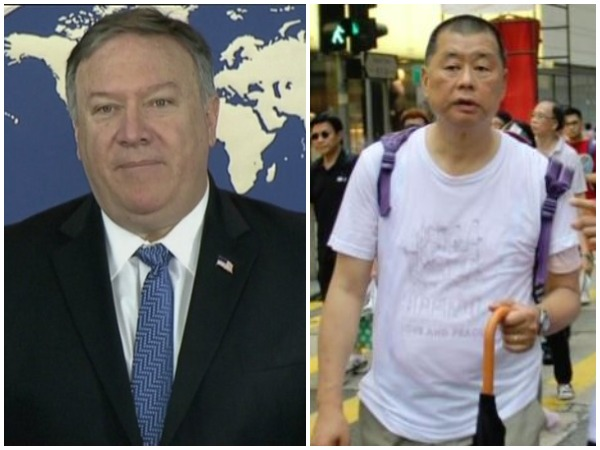 US Secretary of State Michael Pompeo and Hong Kong businessman Jimmy Lai (File photo)