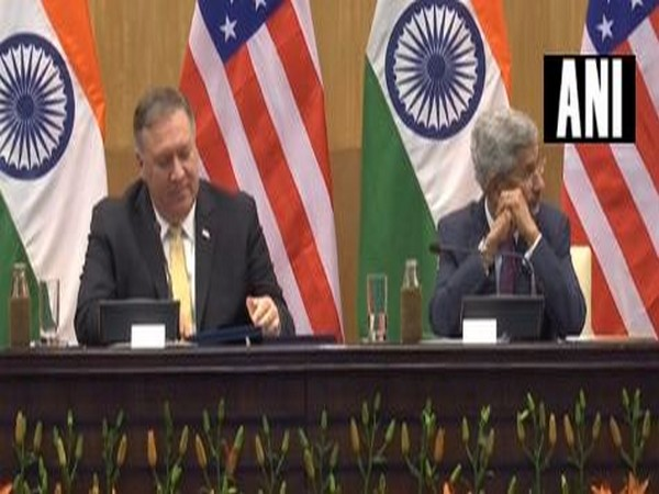 US Secretary of State Mike Pompeo and EAM S Jaishankar while addressing the media in New Delhi on Wednesday. Photo/ANI