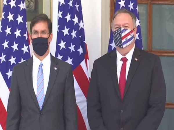 US Secretary Mike Pompeo and US Secretary of Defense Mark Esper at the Hyderabad House on Tuesday.