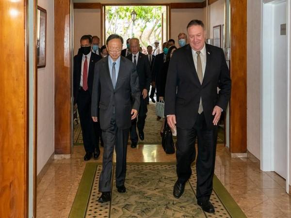 US State Secretary Mike Pompeo with CCP Politburo Member Yang Jiechi in Hawaii last week