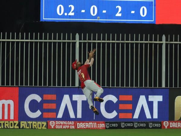 Nicholas Pooran's gravity-defying save at the boundary rope. (Photo/Kings XI Punjab Twitter)