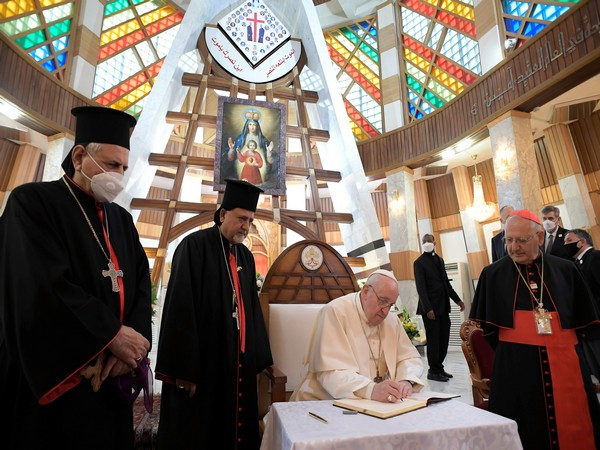 Pope Francis met bishops, priests, seminarians and catechists at the Syro-Catholic Cathedral of 'Our Lady of Salvation' in Baghdad. (Photo credit: Reuters)