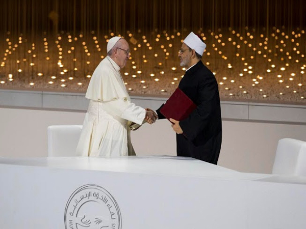 Pope Francis and the Grand Imam Al-Tayeb of Al-Azhar, signing of the Document on Human Fraternity