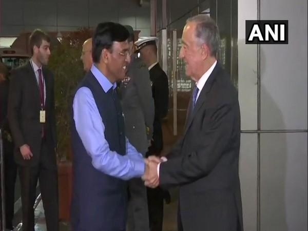 President of Portugal Marcelo Rebelo de Sousa arrives at New Delhi airport.