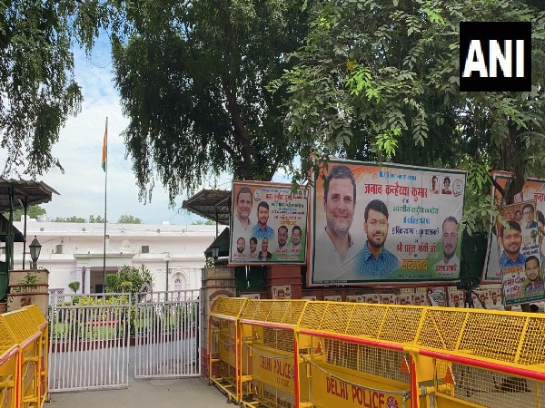 Posters welcoming Kanhaiya Kumar into Congress put up outside the Congress office. (Photo/ ANI)
