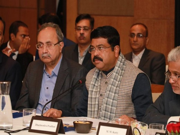 Union Petroleum and Natural Gas Minister Dharmendra Pradhan with a Qatari ministerial delegation in New Delhi on Monday.