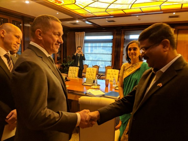 Union Minister Dharmendra Pradhan meets Russian Deputy Prime Minister Yury P Trutnev in Moscow on Thursday. (Photo Credit: India in Russia Twitter)