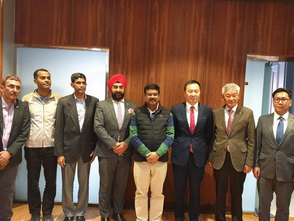 Union Minister Dharmendra Pradhan with Minister of Mining and Heavy Industry of Mongolia, Nandinjargal Ganbold in Ulaanbaatar on Monday. Photo/Twitter