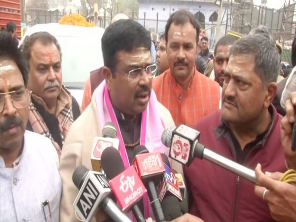 Union Minister of Petroleum & Natural Gas Dharmendra Pradhan speaking to reporters in Varanasi on Sunday. Photo/ANI