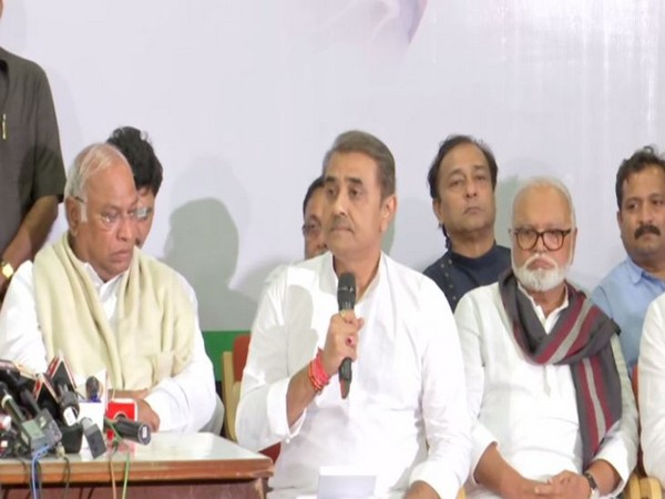 NCP leader Praful Patel speaking at a press conference in Mumbai on Tuesday. Photo/ANI