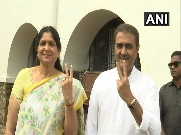 Senior NCP leader Praful Patel and his wife Varsha after casting their votes at a polling booth in Gondia, Maharashtra on Monday.