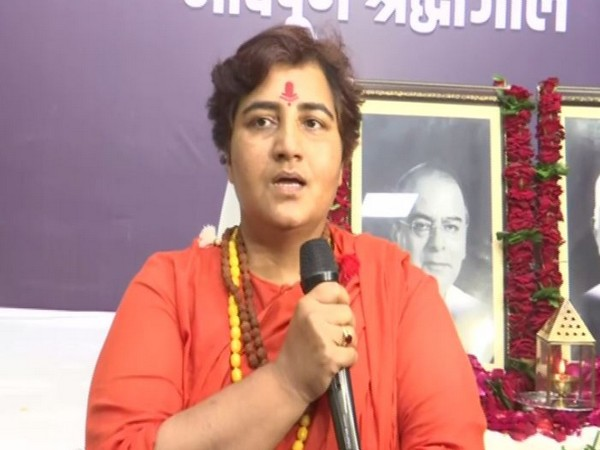 BJP MP Pragya Thakur speaking at a condolence event in Bhopal on Monday (Photo/ANI)