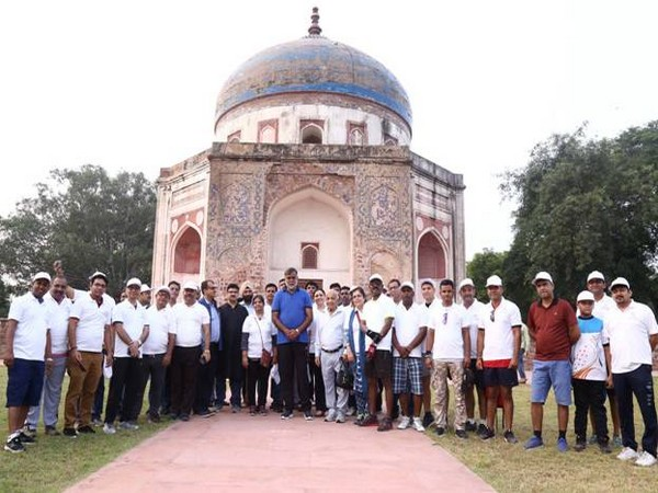 Prahlad Singh Patel opens the entry for Nila Gumbad at Humayun Tomb Complex for general public (Source PIB)