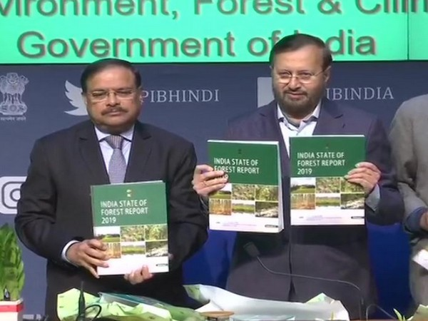 Union Minister Prakash Javadekar released the India State of Forest Report in New Delhi on Monday (Photo/ANI)