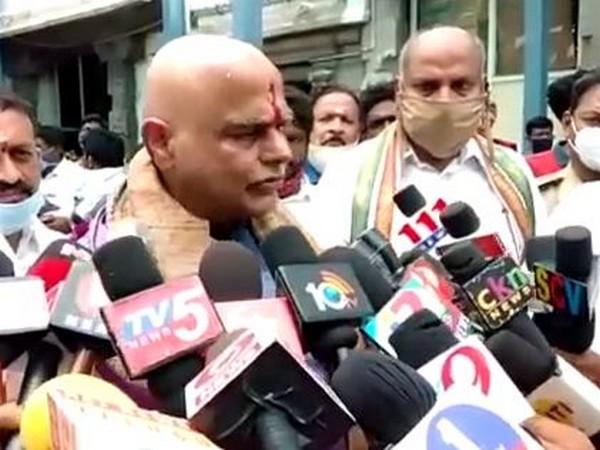 Andhra Pradesh Assembly speaker Tammineni Sitaram talking to reporters on Saturday.