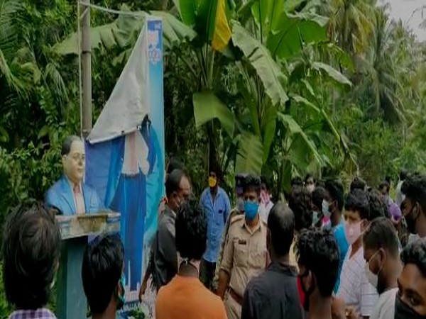 Crowd gathered in East Godavri district after unidentified miscreants vandalised the statue of Dr BR Ambedkar. (Photo/ANI)