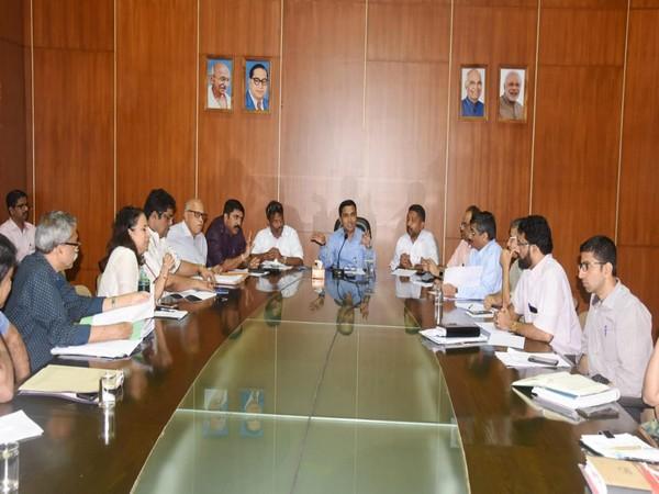 Goa Chief Minister Pramod Sawant at the meeting in Secretariat, Porvorim on Tuesday. Photo/ANI