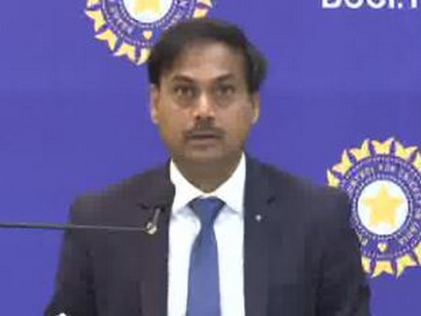 Chief Selector MSK Prasad during the announcement of India's squad for the upcoming West Indies tour in Mumbai on Sunday. Photo/ANI