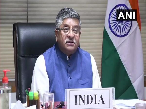 Union Minister Ravi Shankar Prasad speaking at G20 Digital Minister's Meet via video conferencing on Wednesday.