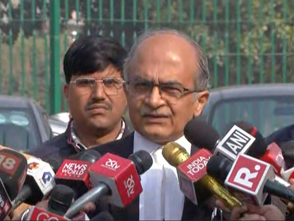 Senior advocate Prashant Bhushan while talking to media on Tuesday. Photo/ANI