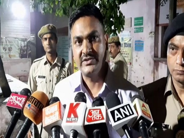 Superintendent of Police (Baghpat) Pratap Gopendra speaking to reporters on Monday.
