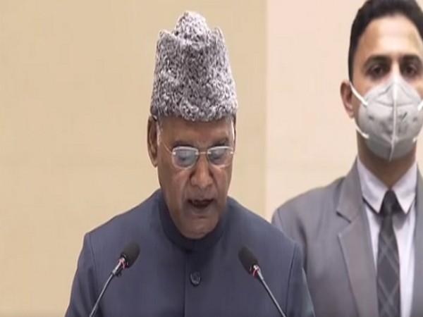 President Ram Nath Kovind addressing the 'Shri Guru Ravidas Vishva Mahapeeth Rashtriya Adhiveshan-2021 at Vigyan Bhavan.