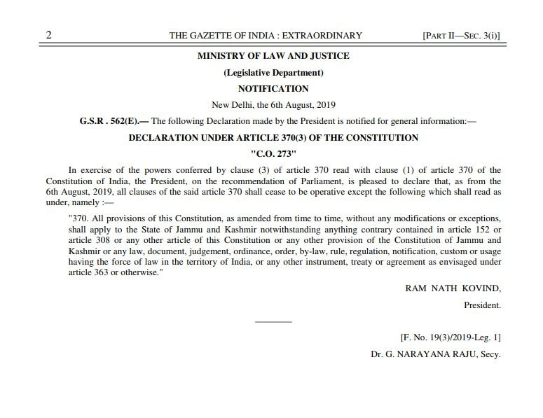 Notification on Article 370
