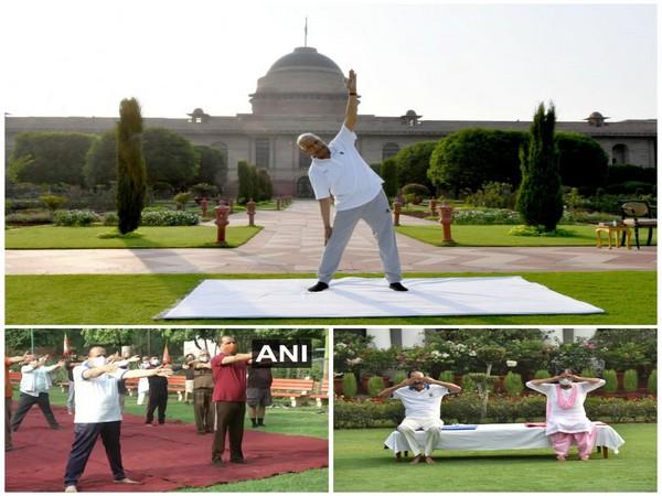 President Ram Nath Kovind, Vice President M Venkaiah Naidu, Union Health Minister Dr Harsh Vardhan performing yoga. (Photo/ ANI)