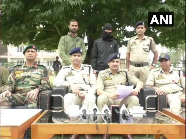 Visual from the joint press conference by Baramulla police, 52 RR and CRPF 53 in Baramulla on Sunday. Photo/ANI