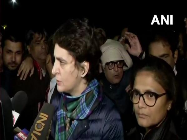 Congress general secretary Priyanka Gandhi Vadra speaking to media on Monday. (Photo/ANI)