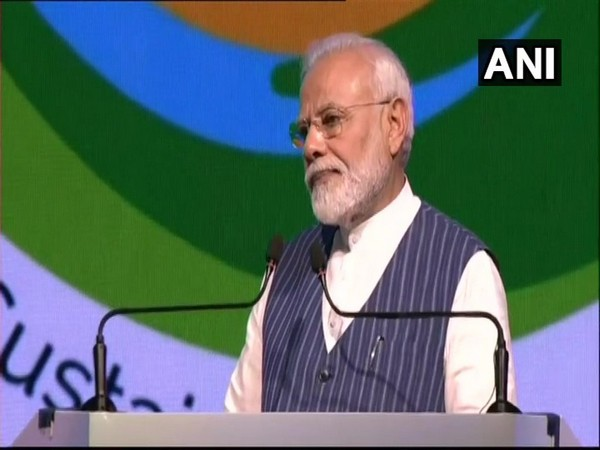 Prime Minister Narendra Modi addressing the COP14 conference in Greater Noida on Monday.