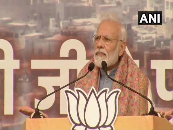 Prime Minister Narendra Modi addressing a rally in Delhi on Sunday.