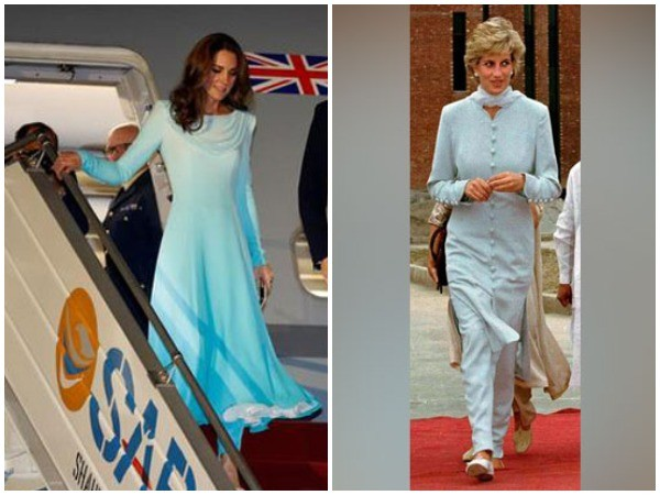 Kate Middleton's attire reminded many of Princess Diana's style on her arrival in Pakistan in 1996.